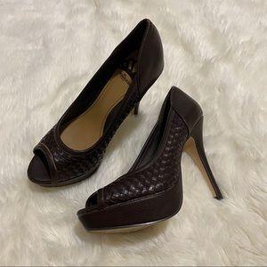 Fergalicious Brown Basketweave Open Toe Heels